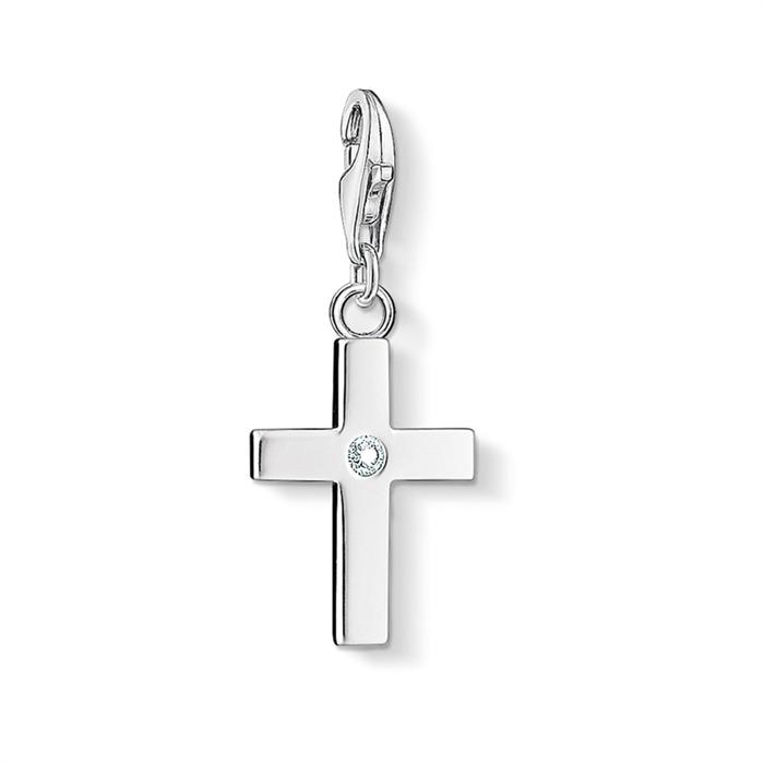 Charm Kreuz aus Sterlingsilber Zirkonia
