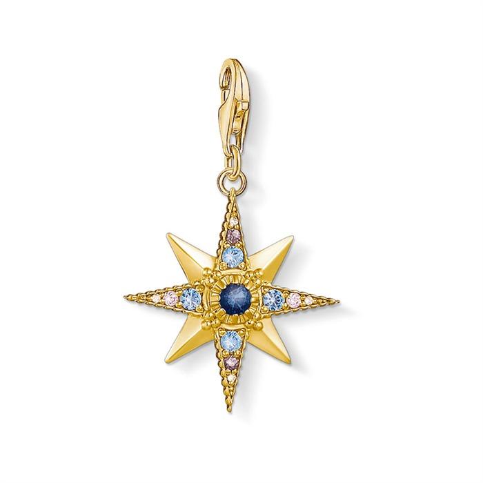Charm Anhänger Royalty Stern 925er Silber vergoldet