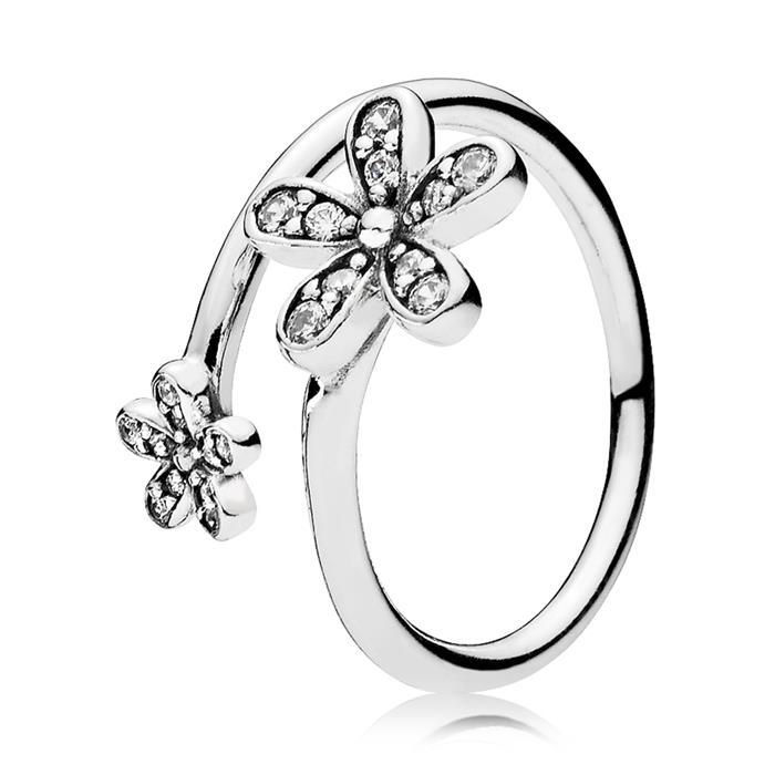 Ring Blumen 925er Silber Zirkonia