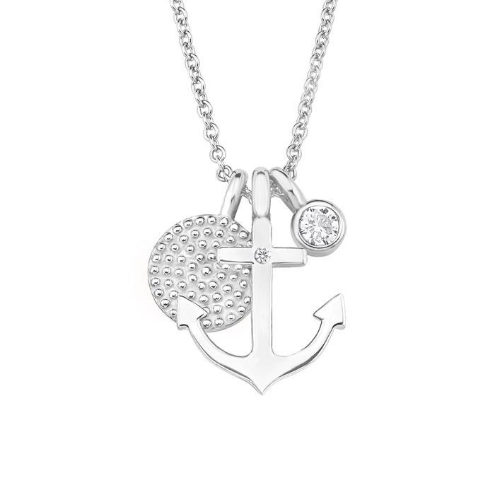 925er Silberkette für Damen mit Anker, gravierbar