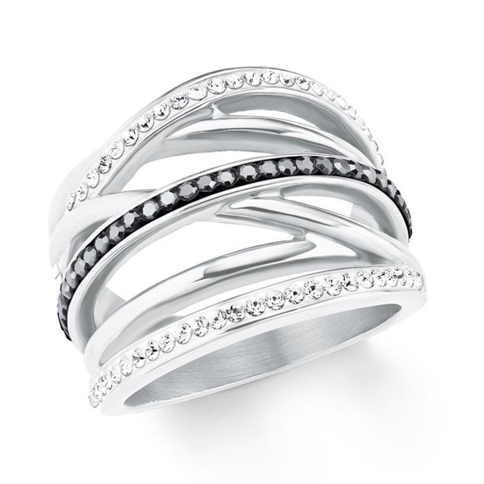 Edelstahl Ring für Damen mit Swarovski Kristallen