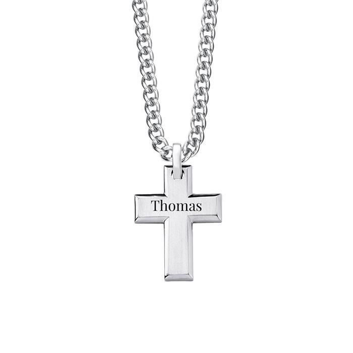 Gravierbare Kreuzkette für Herren aus Edelstahl
