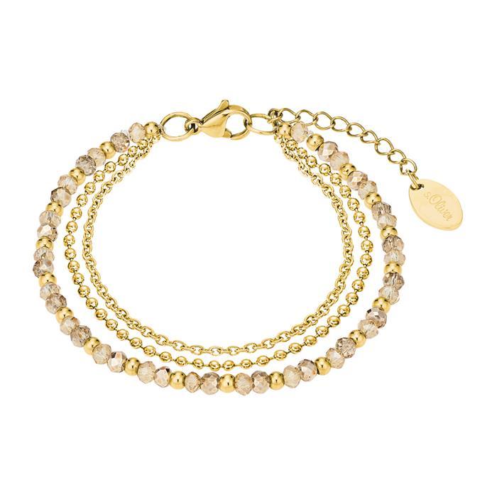Dreireihiges Armband für Damen aus Edelstahl, gold