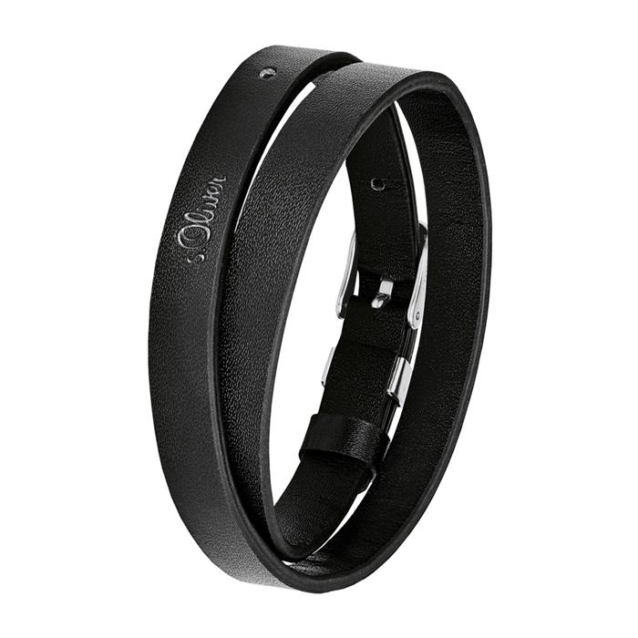 Wickelarmband für Herren aus schwarzem Leder