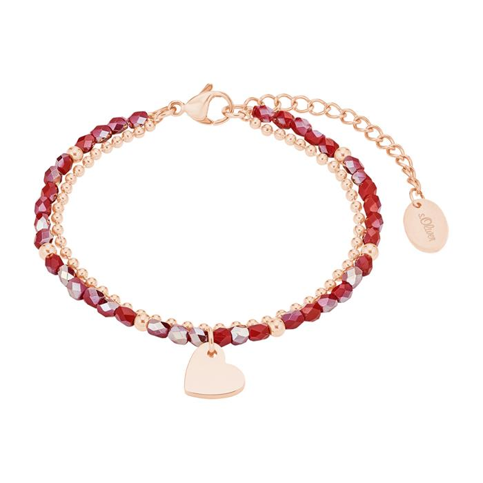 Damenarmband mit Herz aus Edelstahl, rosé