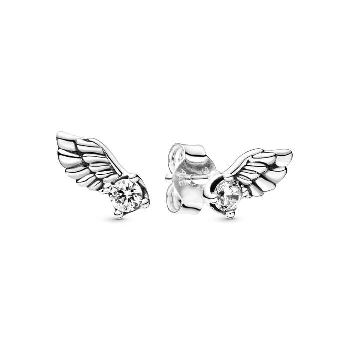 Ohrstecker Flügel 925 Sterling Silber 28 Zirkonia Ohrringe Engelsflügel Damen