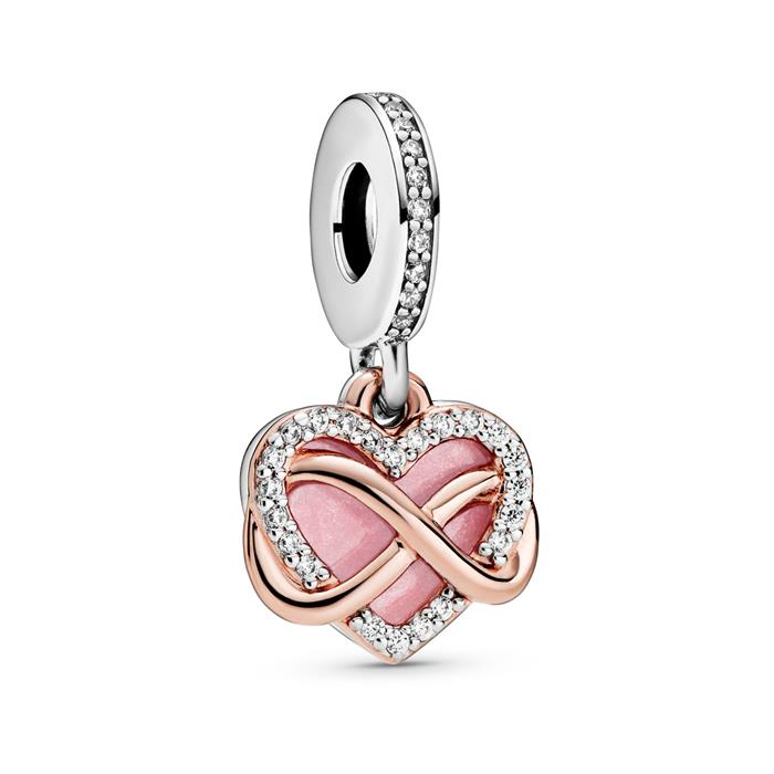 Charm Anhänger Infinity Herz aus 925er Silber, ROSE