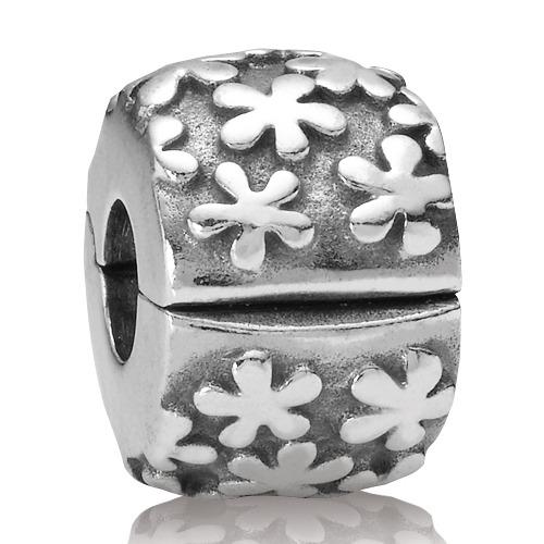 Silber Charm Blüten Clip