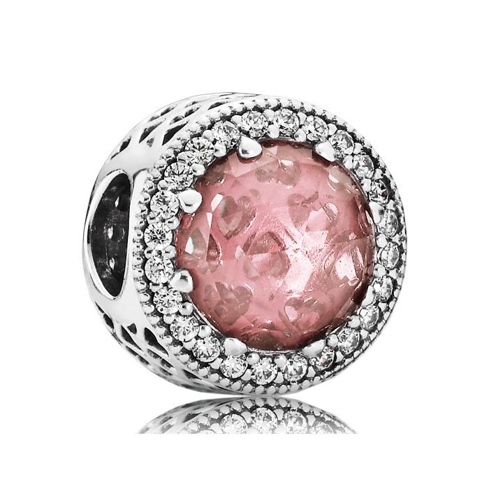 Strahlenkranz Charm rosa 925er Silber