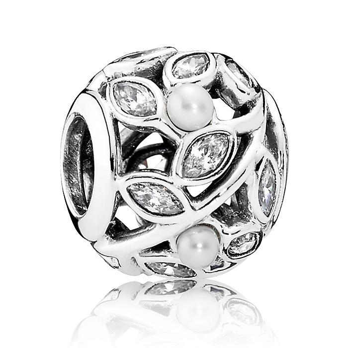 Charm 925er Silber Perlen Blüten