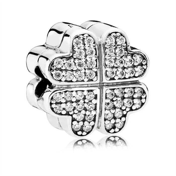 Herz Silber Charm Blüten Zirkonia