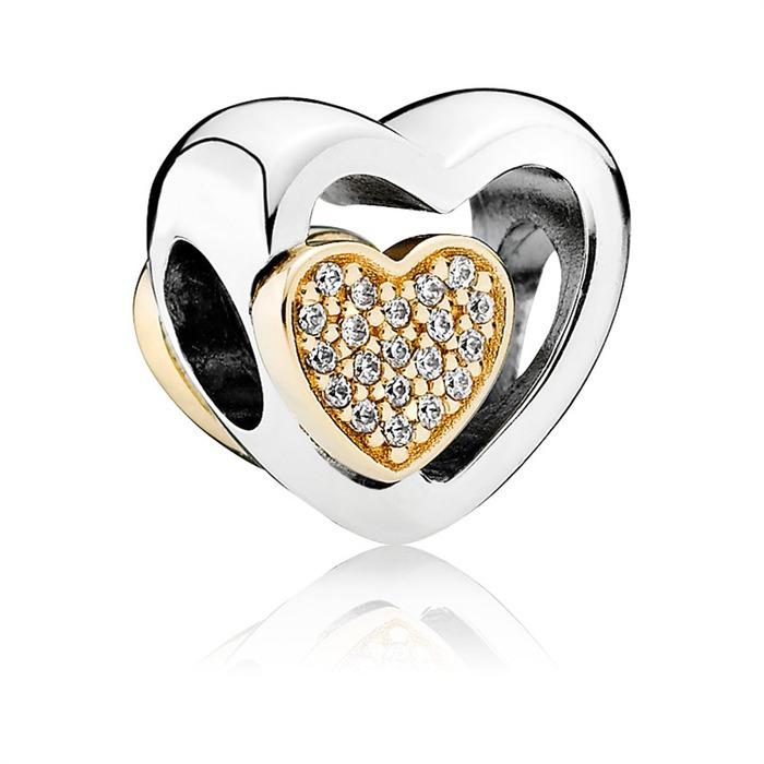 Charm 925er Silber Herz Gold