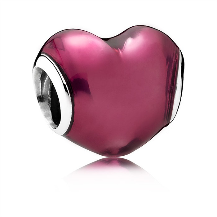 Charm rotes Emaile Herz Silber