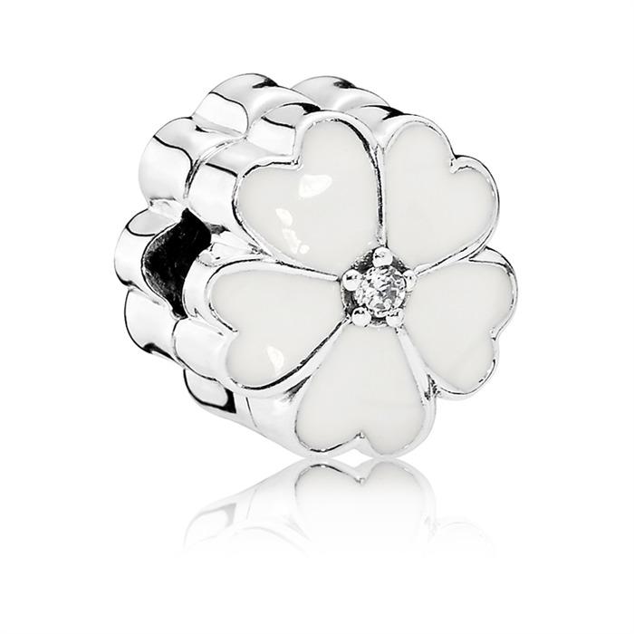 Blumencharm in weiß 925er Silber