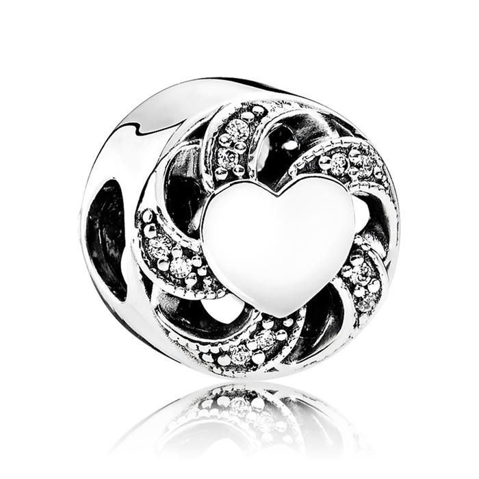 Charm mit Herz und Zirkonia Steinen