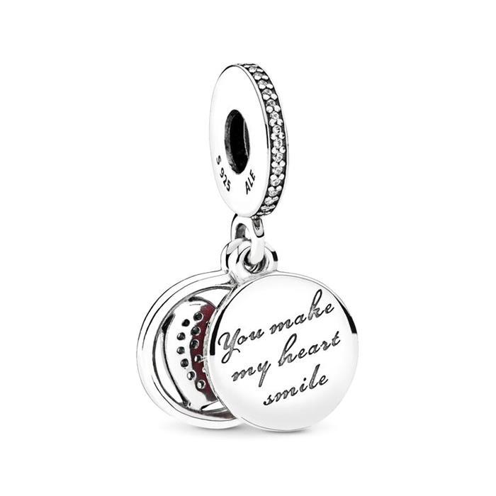 Charm Herz 925er Silber Emaille