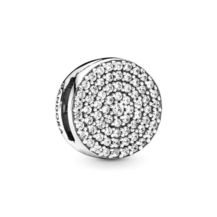 Gravierbarer 925er Silber Reflexions Clip mit Zirkonia