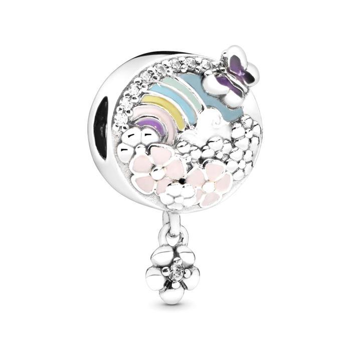 Charm Flower and rainbow aus 925er Silber und Emaille