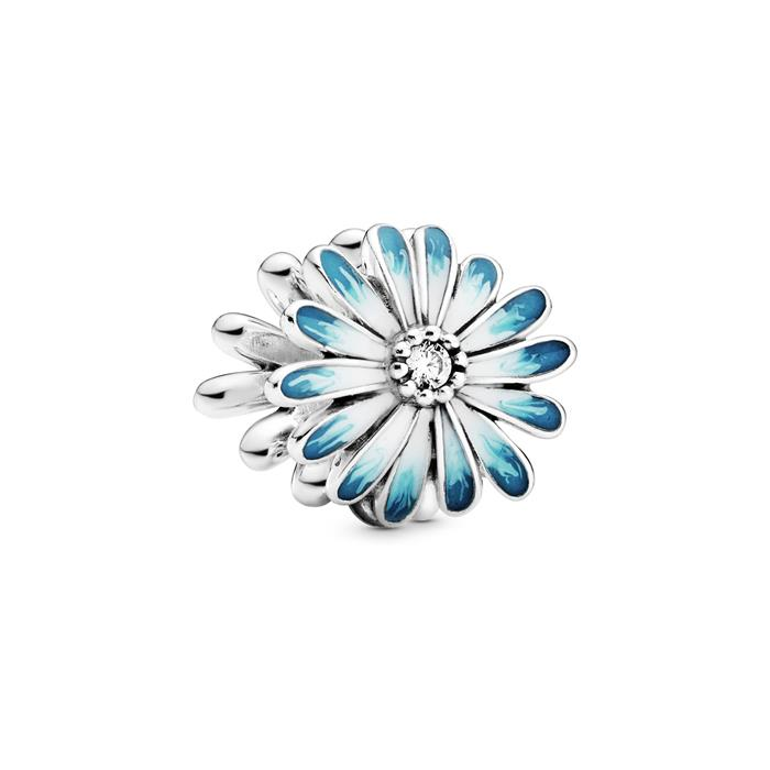 Charm Blaues Gänseblümchen aus 925er Silber