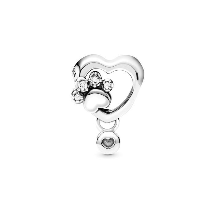 925er Silber Herz Charm Hundepfote mit Zirkonia