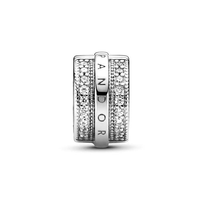 Clip Charm Logo aus 925er Silber mit Zirkonia