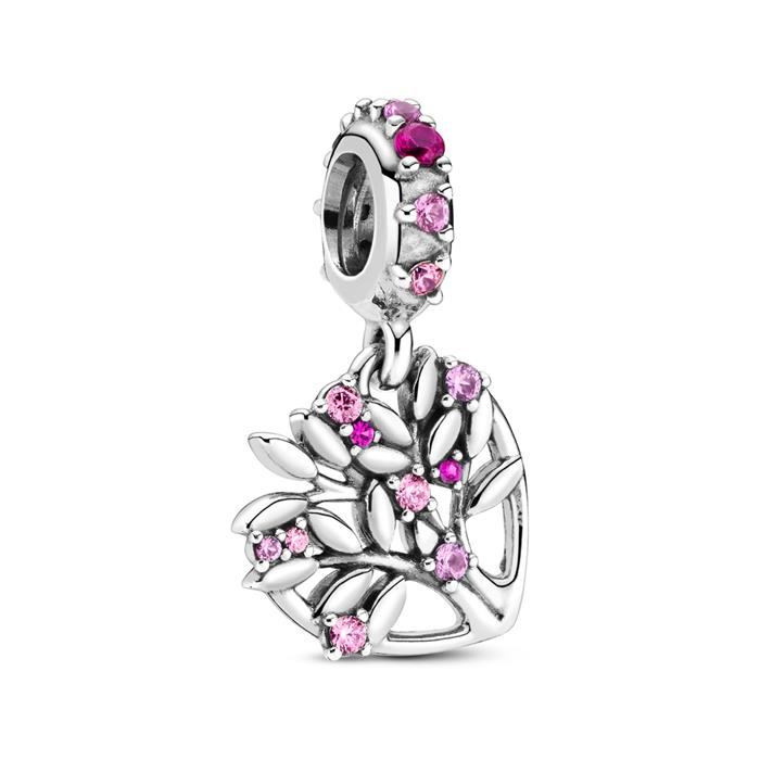 Charm-Anhänger Pink Heart Family aus Sterlingsilber