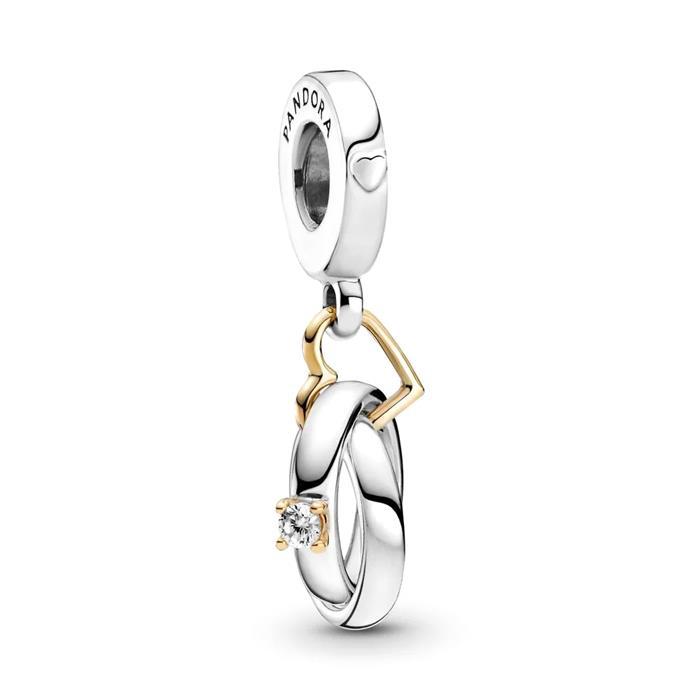 Zweifarbiger Charm Anhänger Eheringe aus 925er Silber