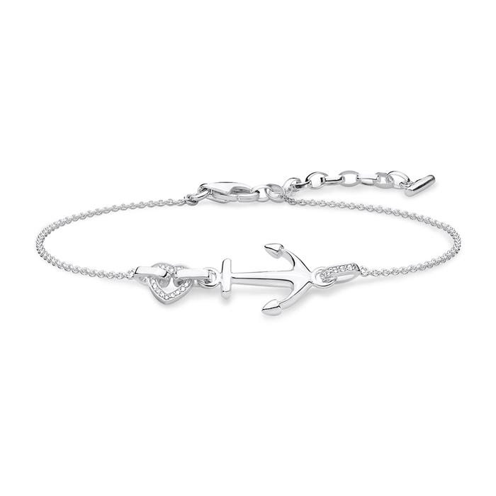 Damenarmband Anker mit Herz aus 925er Silber Zirkonia