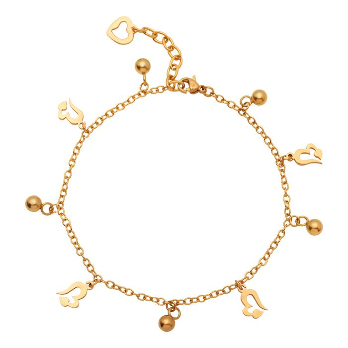 Vergoldete Fußkette aus Edelstahl mit Herzen