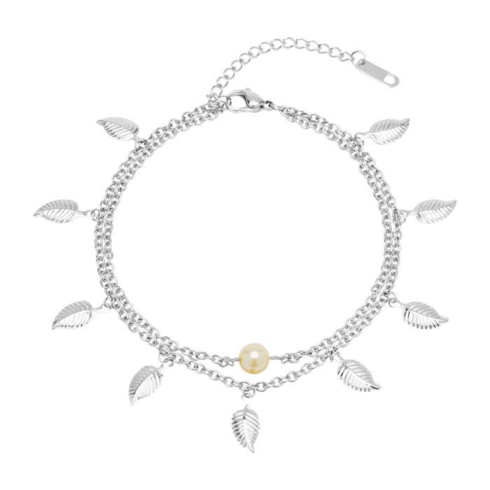 Edelstahl Fußkette Blätter Perle zweireihig