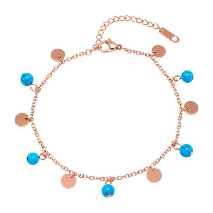 Edelstahl Fußkette rosévergoldet türkise Perlen