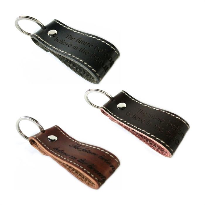 Leder Schlüsselanhänger mit Kontrastnaht
