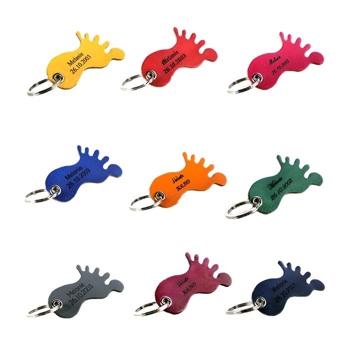 Bunter Schlüsselanhänger Leder mit Gravur