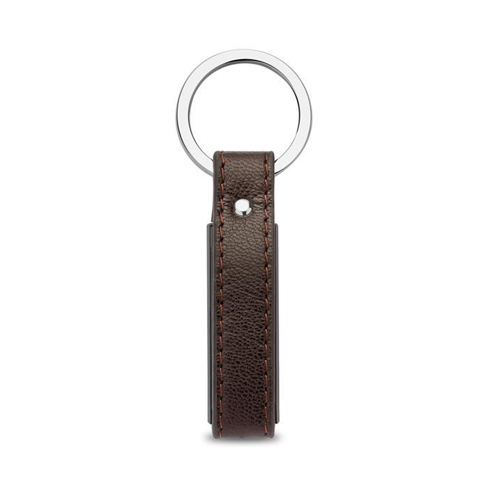Gravierbarer Schlüsselanhänger Leder Edelstahl