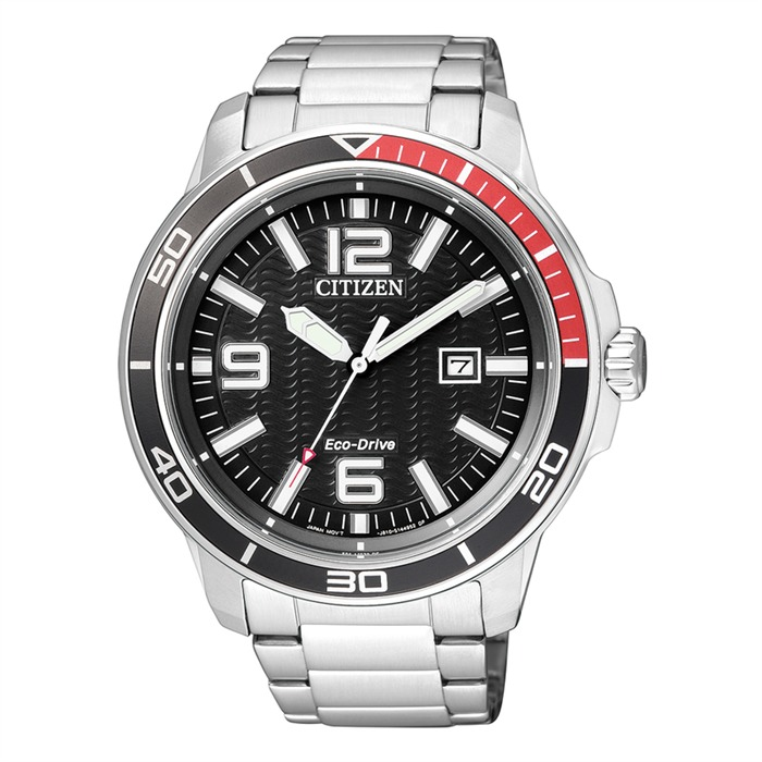 Sports Herrenuhr silber Eco-Drive