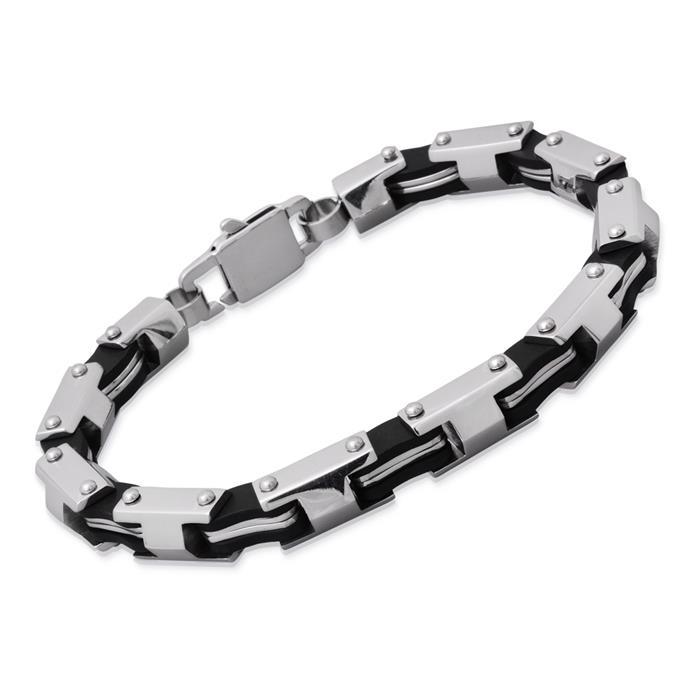 Armband Edelstahl & Carbon Elemente 23cm