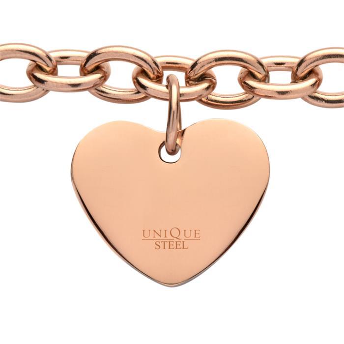 Rosévergoldetes Armband aus Edelstahl mit Herz
