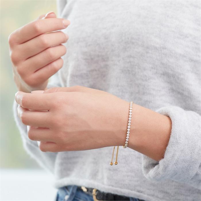 Armband Edelstahl IP-Gold Zirkonia