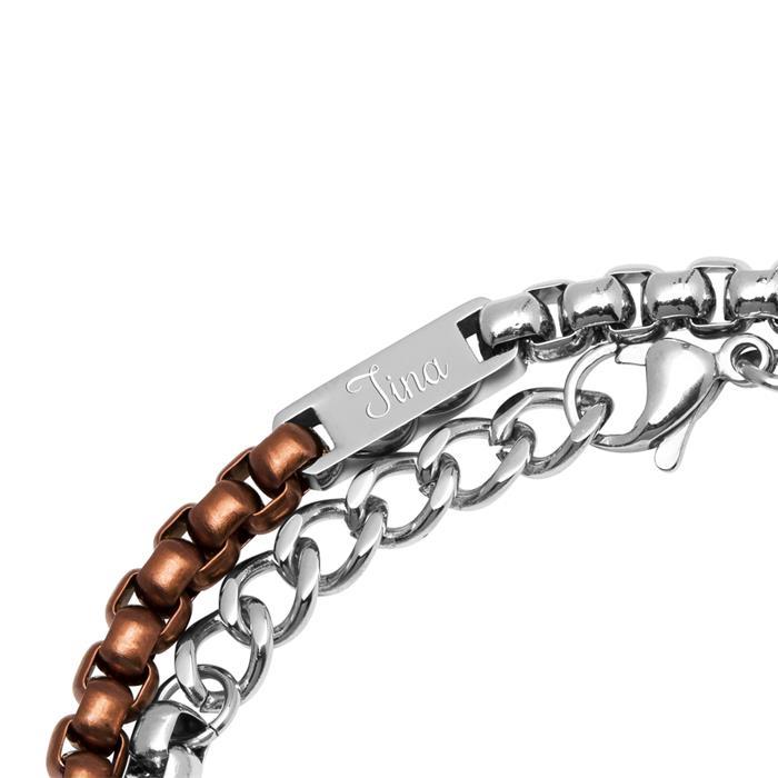 Edelstahl Armband silber braun Gravur