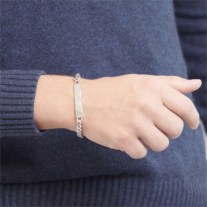 Edelstahl Gravur Armband halbes Herz rosé