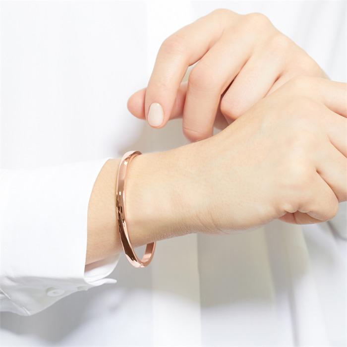 Armreif Damen gravierbar Edelstahl rosévergoldet