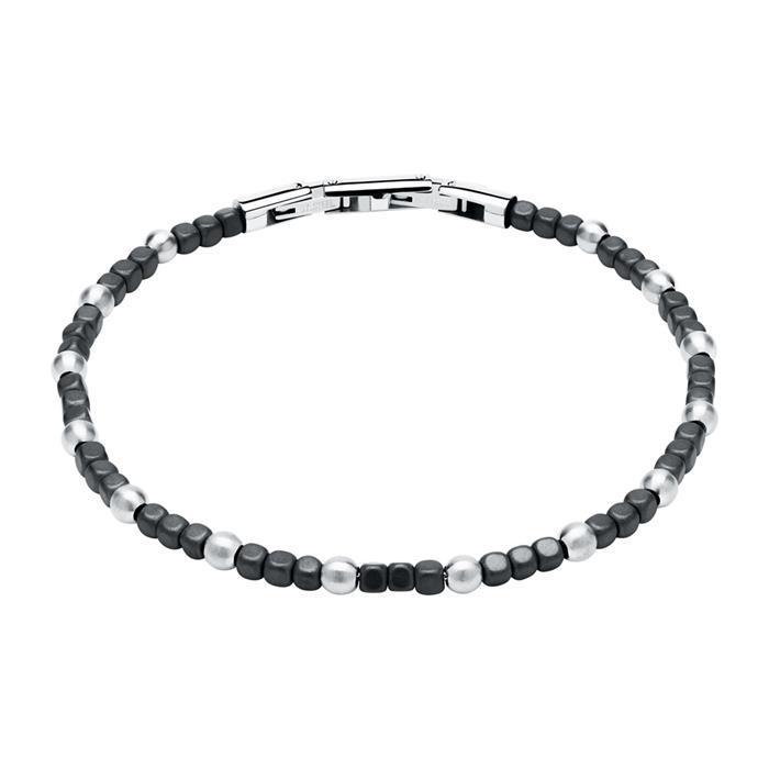 Armband aus Edelstahl und Hämatit