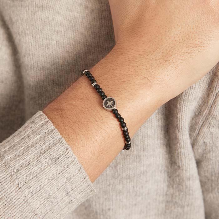 Armband Kompass aus Edelstahl und Onyx