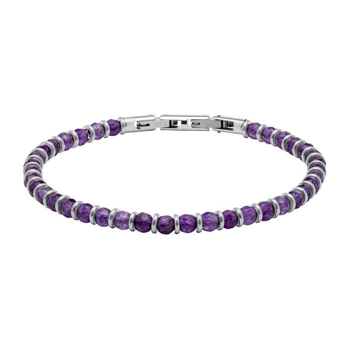 Armband aus Edelstahl mit lila Perlen