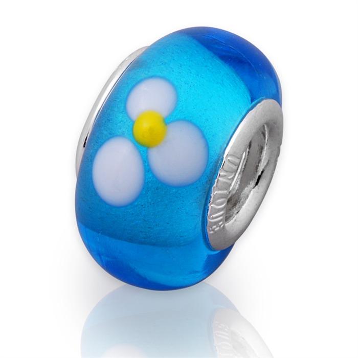 Glas Bead mit 925 Sterling Silber Fassung