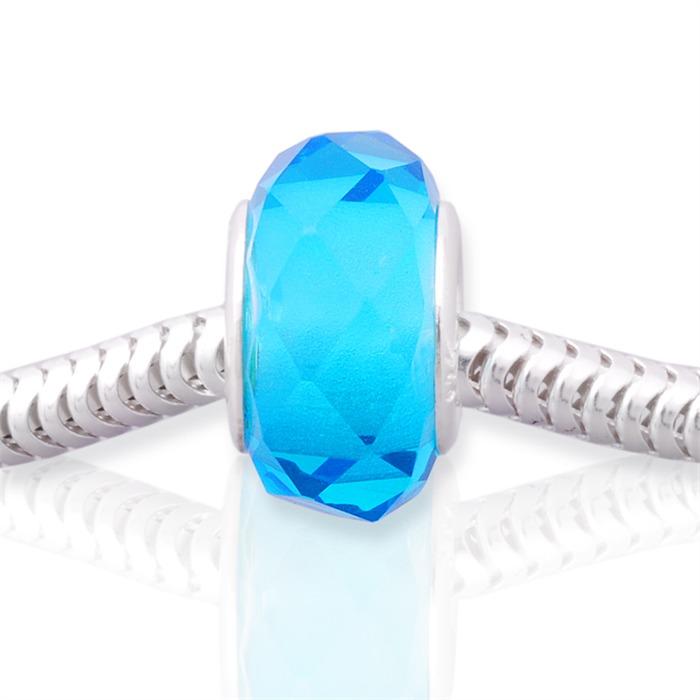 Blauer Glas Bead mit 925 Silber Fassung