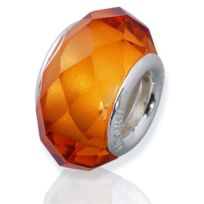 Goldener Glas Bead mit 925 Silber Fassung