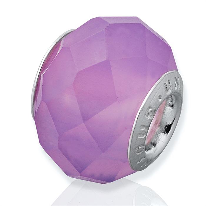 Violetter Bead aus Achat mit 925 Silber Fassung