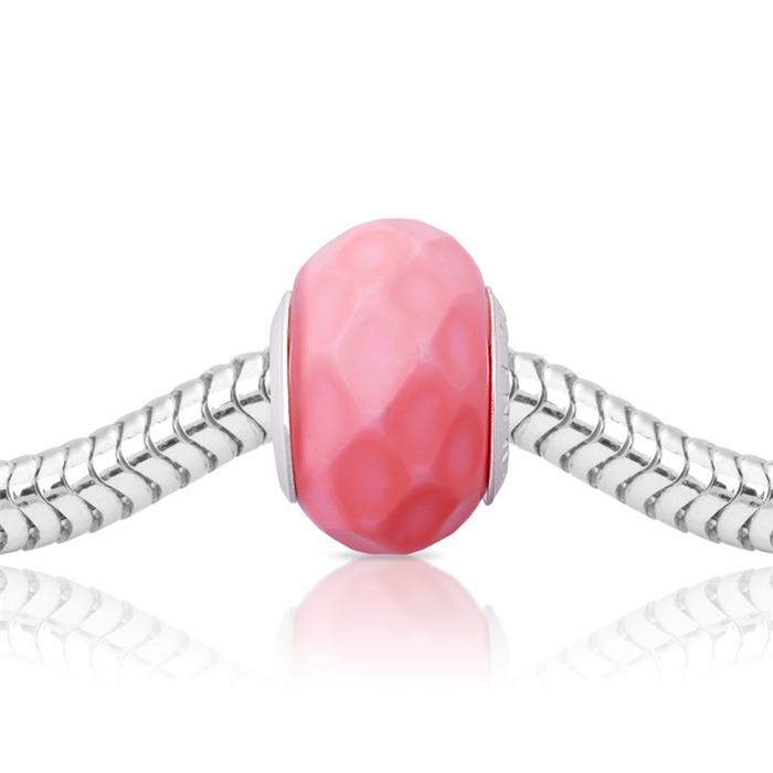 Pinker Bead mit 925 Silber Fassung