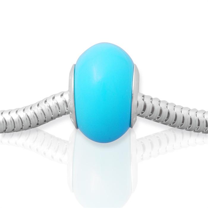 Blauer Bead mit 925 Silber Fassung